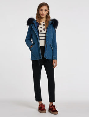Denim parka with a removable liner