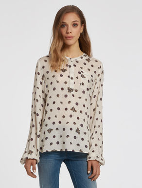 Printed crew neck blouse