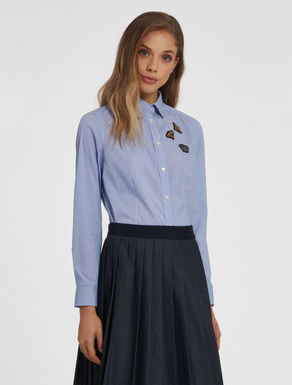 Poplin shirt with appliqués