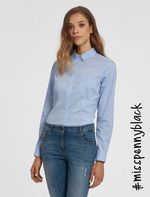 Stretch poplin slim blouse