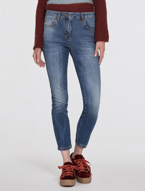 Skinny-fit stone-washed jeans
