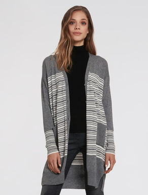Lined and ribbed cardigan