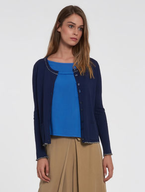 Cardigan with lamé ribs and hems