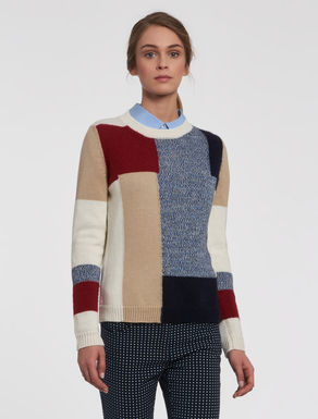 Inlay colour block sweater