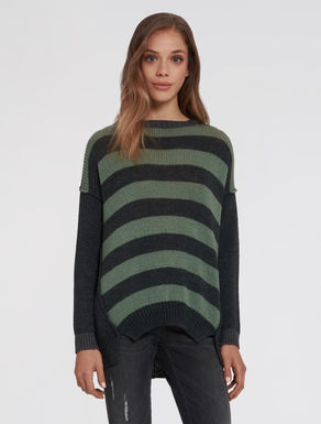 Lined panel sweater