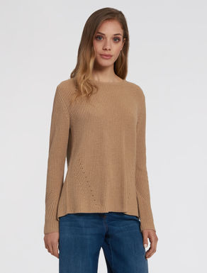 Fabric panel sweater