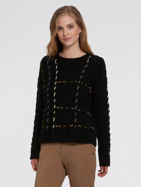 Sweater with braids and trim