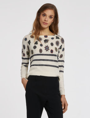 Printed sweater with lamé lines