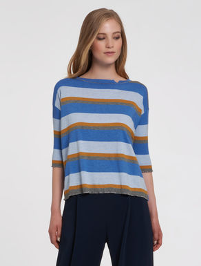 Sweater with lamé ribbing and hems