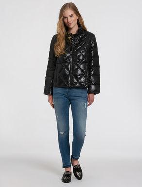 Shiny boxy-line puffer jacket