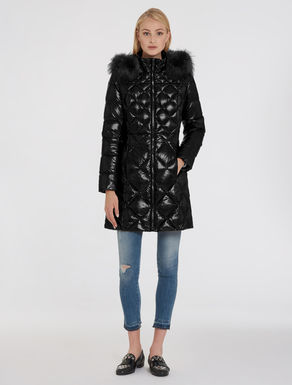 Shiny fit & flare puffer jacket