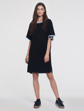 Fleece and poplin dress