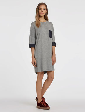 Fleece and lightweight denim dress