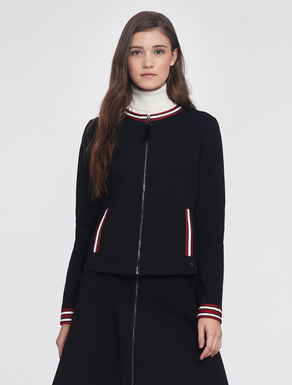 Jersey jacket with striped edges