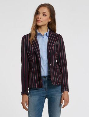 Pinstripe jersey blazer