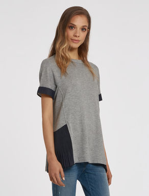 Felt and light denim t-shirt