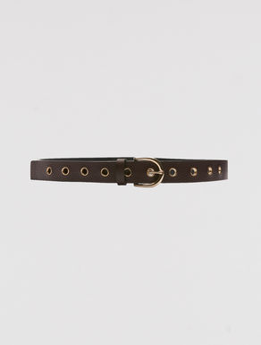 Leather belt with eyelets