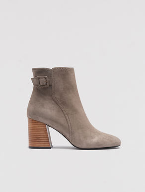 Block heel leather boots