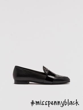 Leather moccasins with eyelets