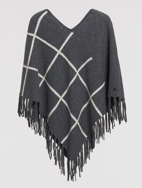 Checked wool poncho with fringe