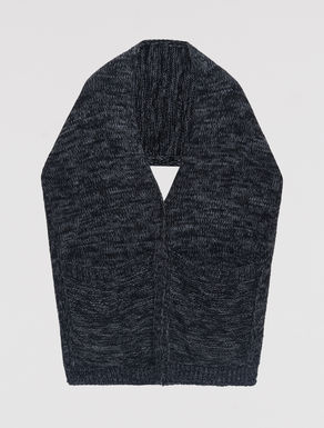 Mixed knit scarf-vest