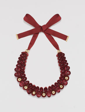 Grosgrain necklace with beads