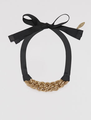 Chain and grosgrain choker