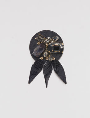 Gem, rhinestone and resin broach