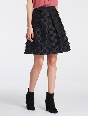 Polka-dot A-line skirt with fringe