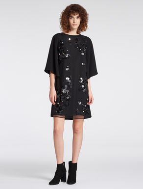 Crêpe dress with maxi-sequins
