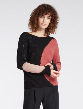 Colour-block jumper with polka dots