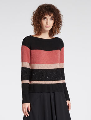 Jumper with lamé and micro-sequins