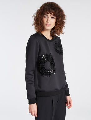 Sweatshirt with maxi-sequin polka dots