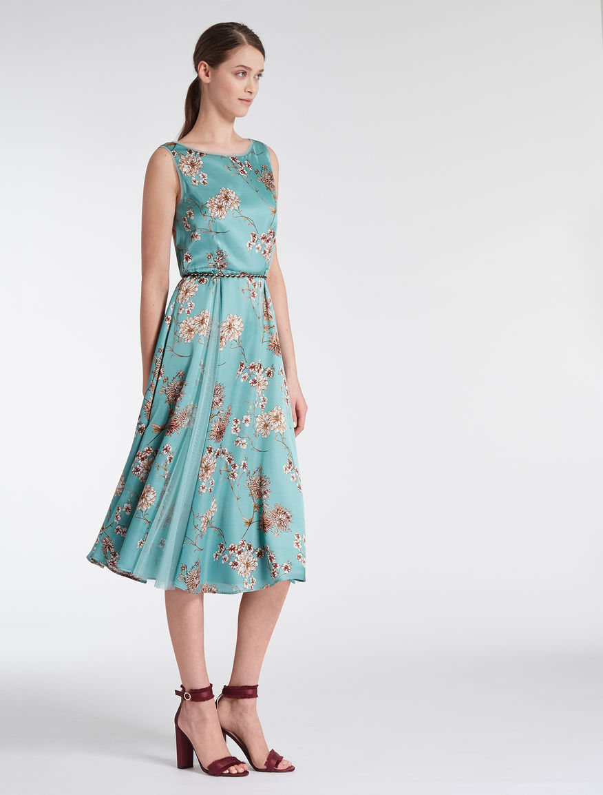 Satin and tulle midi dress, green pattern - \