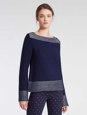 Sweater with micro-pattern trim