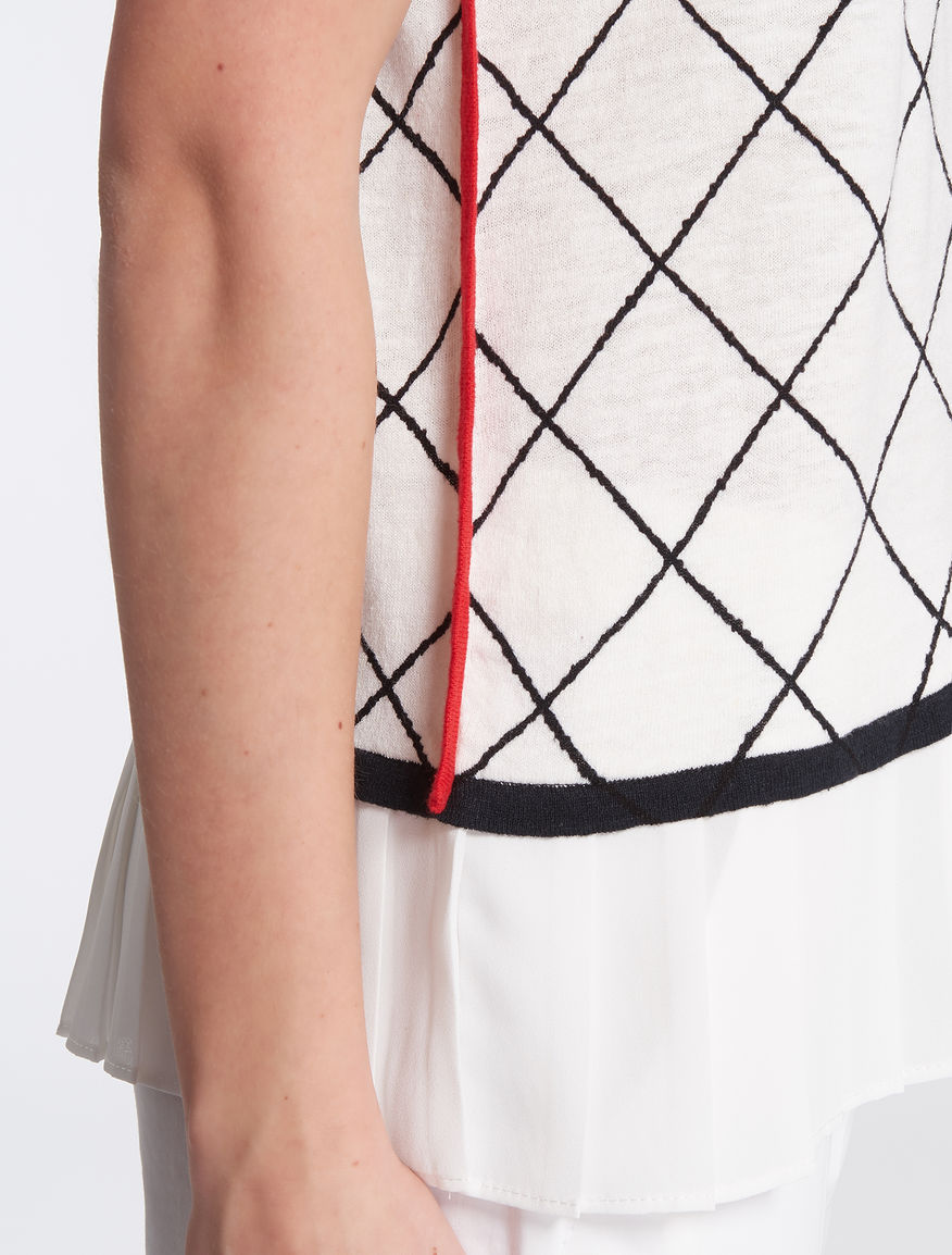 Knitted top with pleated flounce, white pattern - \