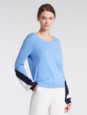 Colour block cotton sweater