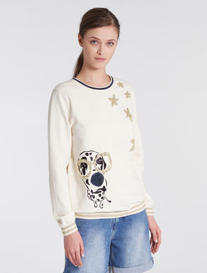Sweatshirt with embroidery and sequins