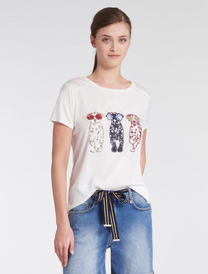 Embroidered crêpe and jersey T-shirt