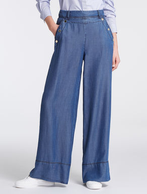 Wide-leg trousers in flowing denim