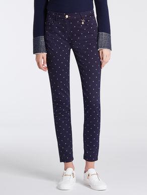 Skinny pants in gabardine jacquard
