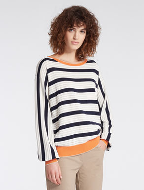 Striped cotton sweater with lamé