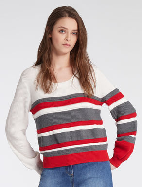 Striped and ribbed cotton sweater