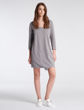 Double jersey dress with flounces