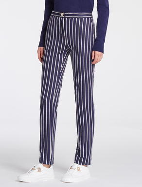 Slim trousers in pinstripe jersey