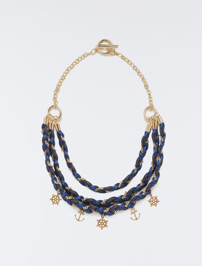 Necklace with weaving and charm