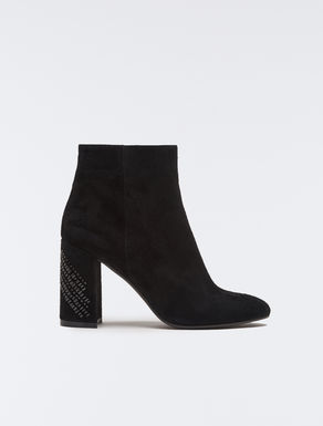 Suede ankle boots with jewel heel