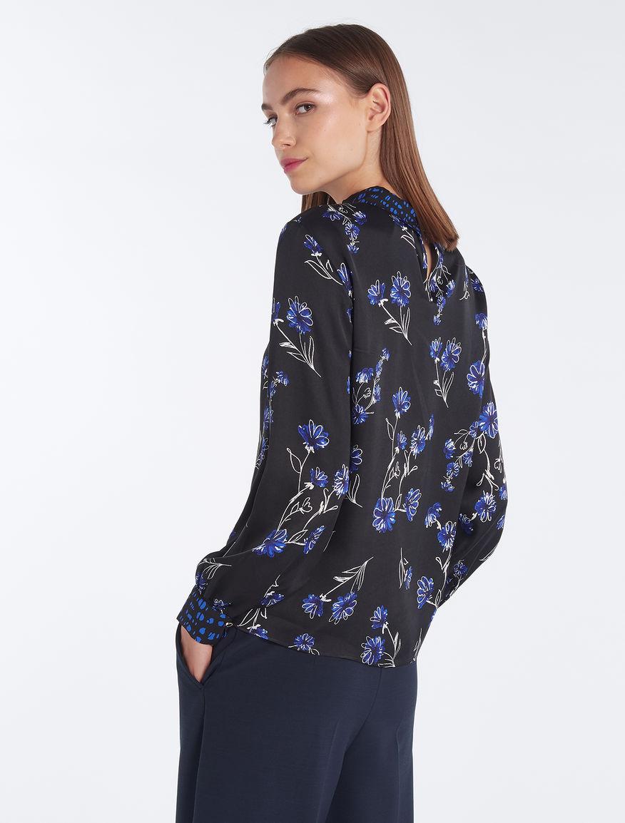 6f0fd2ac2f8157 Floral satin blouse, black pattern -