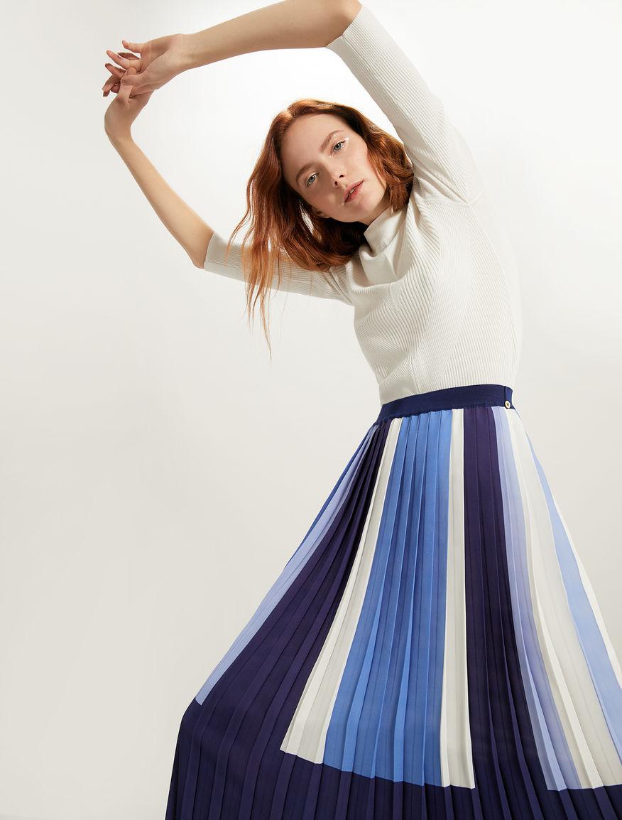ff343d41ed Colour block pleated midi skirt, navy blue pattern -