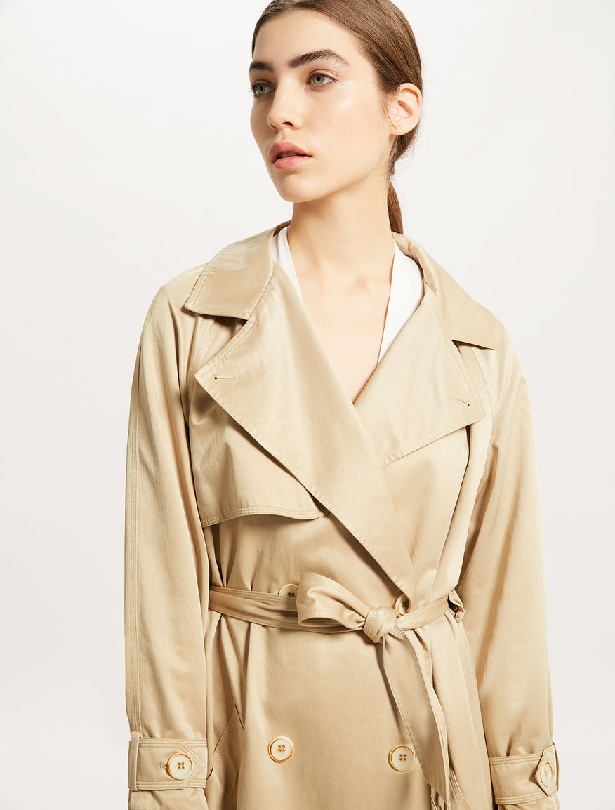 8762574f71f7 Double-breasted trench coat with belt, camel -
